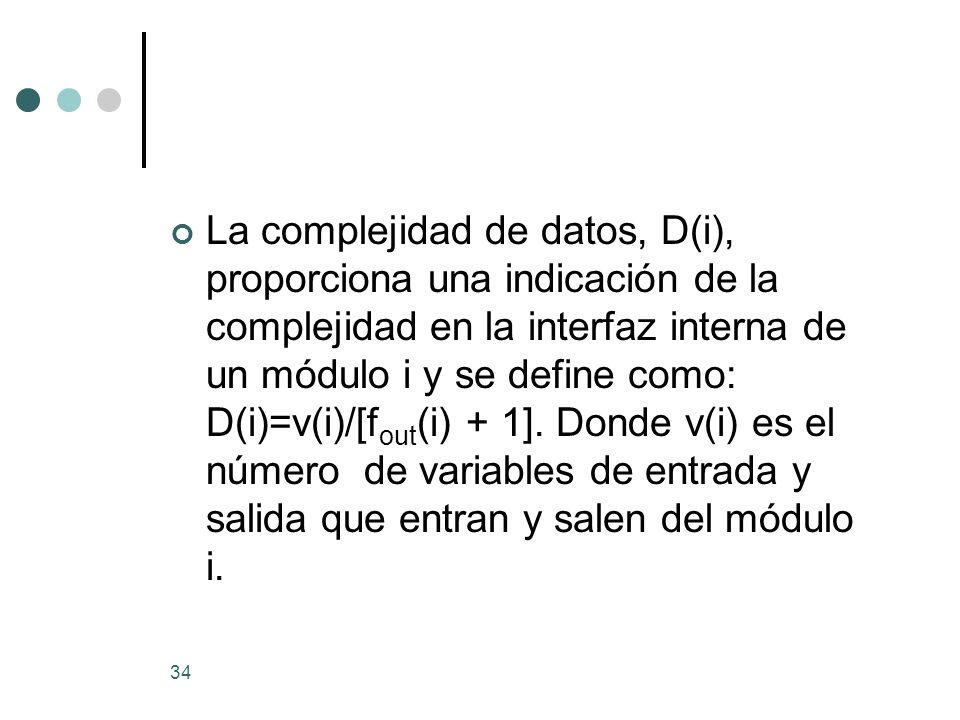 La complejidad de datos, D(i), proporciona una indicación de la complejidad en la interfaz interna de un módulo i y se define como: D(i)=v(i)/[fout(i) + 1].